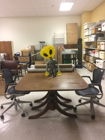 Alien mascot representing the archives at Georgia College.