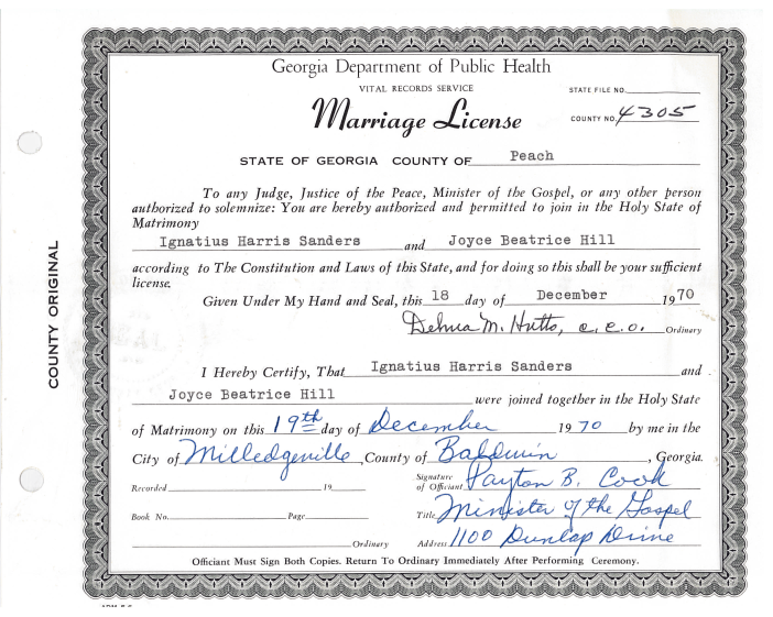Marriage License - Ignatius Sanders